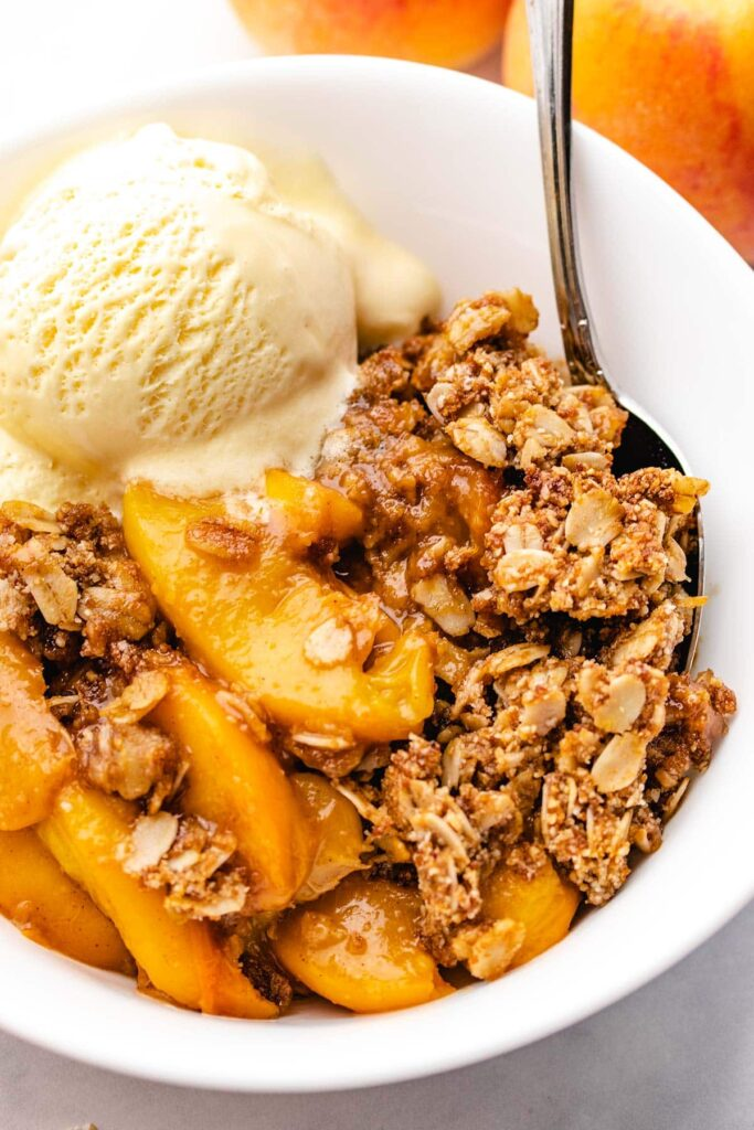 peach recipe, peach recipes, peach recipes healthy, peach recipe easy, gluten free peach crisp, gluten free peach dessert, peach dessert recipe, peach recipe dessert