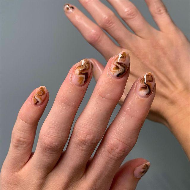 brown nails, brown nails acrylic, brown nails design, brown nails ideas, brown nails aesthetic, brown nails short, brown nails acrylic almond, brown nails acrylic coffin, easy brown nails, simple brown nails, trendy brown nails, marble nails, marble nail ideas