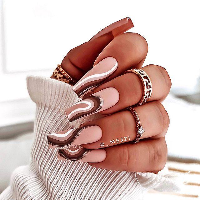 brown nails, brown nails acrylic, brown nails design, brown nails ideas, brown nails aesthetic, brown nails short, brown nails acrylic almond, brown nails acrylic coffin, easy brown nails, simple brown nails, trendy brown nails, swirl nails, swirl nail ideas, swirl nails designs