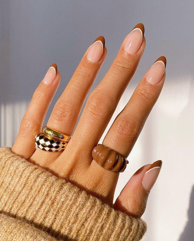 brown nails, brown nails acrylic, brown nails design, brown nails ideas, brown nails aesthetic, brown nails short, brown nails acrylic almond, brown nails acrylic coffin, easy brown nails, simple brown nails, trendy brown nails, French tip nails, French tip nail design, French tip nail ideas