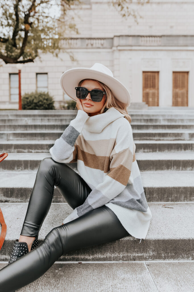 fall outfit idea, fall outfit ideas, fall outfits, fall outfits 2021, fall outfits women, fall outfits aesthetic, fall outfit inspiration, fall outfits for school, cute fall outfits, leather leggings outfit, legging outfit, striped sweater outfit, tunic outfit