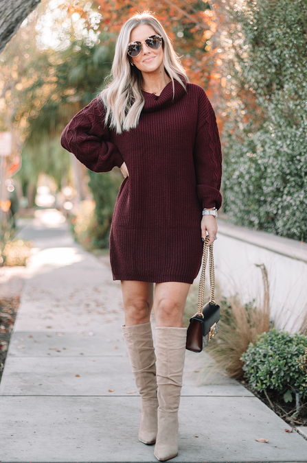 fall outfit idea, fall outfit ideas, fall outfits, fall outfits 2021, fall outfits women, fall outfits aesthetic, fall outfit inspiration, fall outfits for school, cute fall outfits, Burgundy sweater dress, sweater dress outfit
